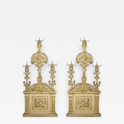 18th c Pair of Italian Parcel Paint and Giltwood Panels