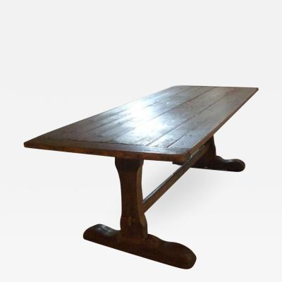 18th cent Early American Rustic Pine Trestle Table