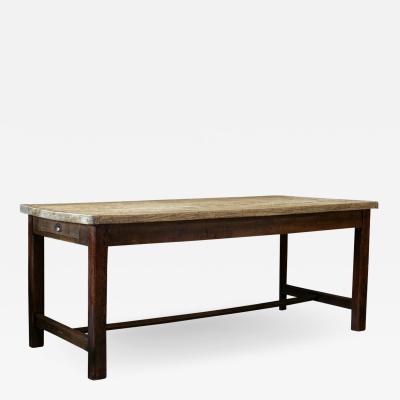 18thC English Estate Made Sycamore Top Prep Table