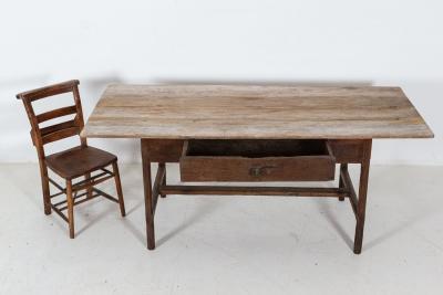 18thC French Elm Oak Provincial Farmhouse Table