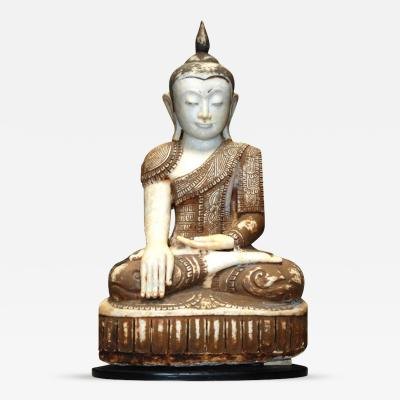 19 20th c Large Myanmar Alabaster Sitting Buddha