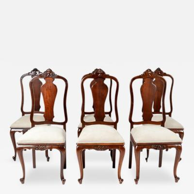 1900s Country French Set of 6 Chairs Walnut