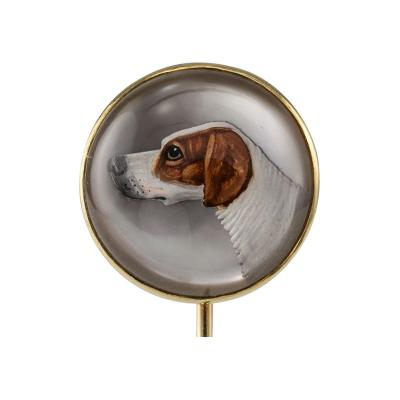 1900s English Bloodhound Essex Crystal Stick Pin