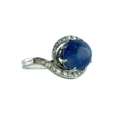 1900s French Cabochon Sapphire Diamond Platinum Ring