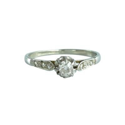 1900s French Diamond Platinum Solitaire Ring