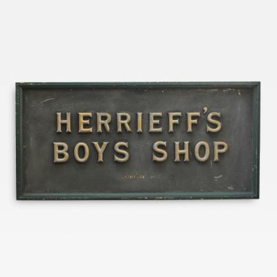 1900s Gold Leaf Letters Sign Herrieffs Boys Store