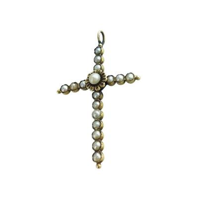 1900s Natural Pearl and Gold Cross Pendant