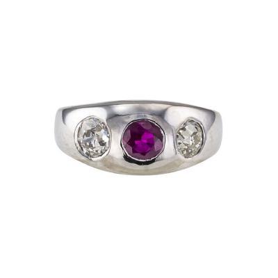 1910 Ruby and Diamond Three Stone Gypsy Ring