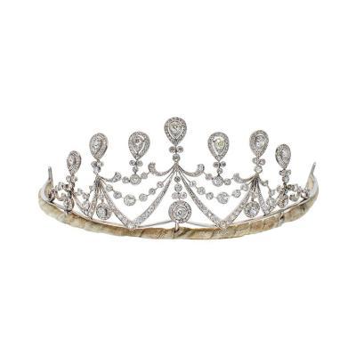 1910s Antique Diamond and Platinum Tiara