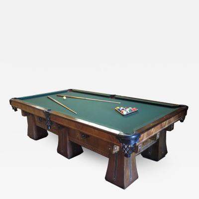 1915 Brunswick Arcade Pool Table with Rare Six Legged Base