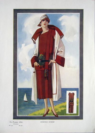 1920 Vintage La Femme Chic 174 Ensemble Sportif Print
