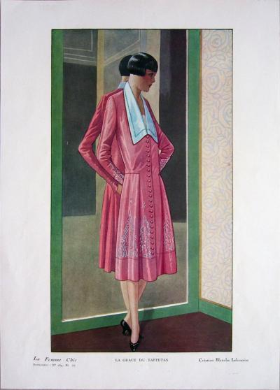 1920 Vintage Paris La Femme Chic 184 La Grace Du Taffetas Print