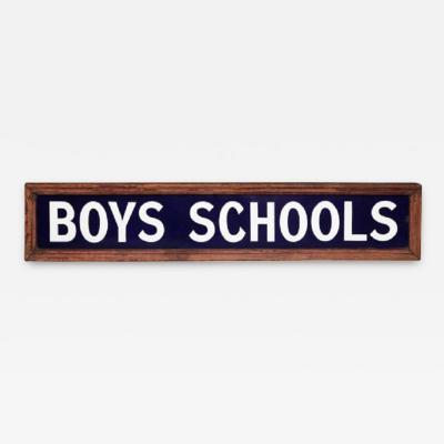 1920 s English Enameled Boys Schools Sign