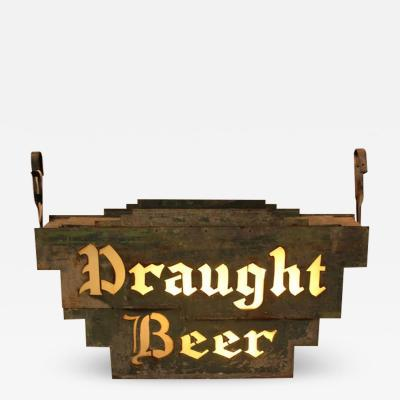 1920s American Double Sided Light Up Draught Beer Sign