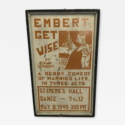 1920s American Hand Painted Theater Poster Sign