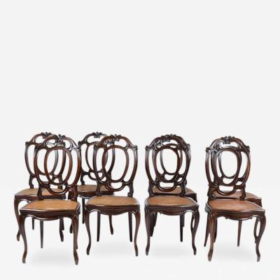 - 1920's Antique Italian Set Of 8 Dining Chairs, Mahogany
