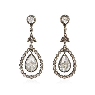 1920s Antique Style Rose Diamond Pendant Earrings Netherlands