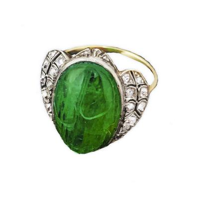 1920s Art Deco 8 Carat Egyptian Revival Emerald Diamond Scarab Ring