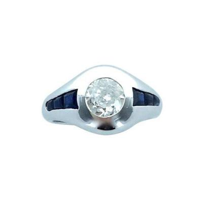 1920s Art Deco Diamond Sapphire Platinum Ring