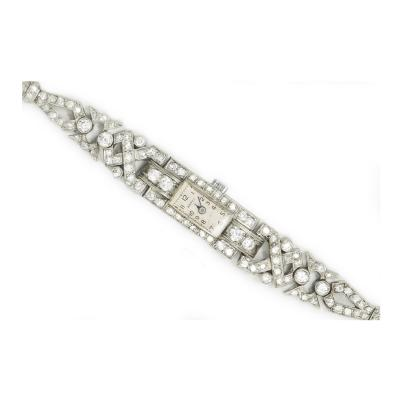 1920s Art Deco Platinum Egyptian Revival Diamond Set Bracelet Watch