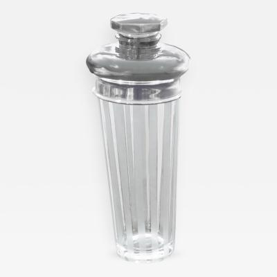 1920s Art Deco Sterling and Etched Crystal Cocktail Shaker