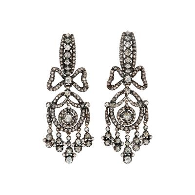 1920s Dutch Antique Style Diamond Earrings of Bow and Fringe Design