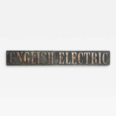 1920s English Electric Locomotive Engine Plate