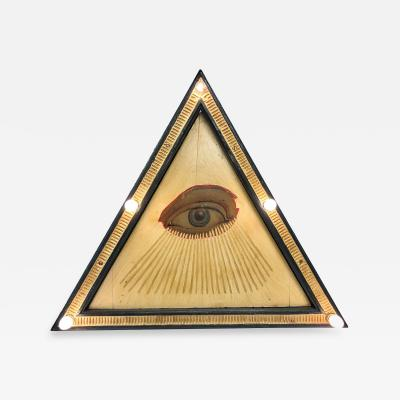 1920s Fraternal Lodge All Seeing Eye Painting