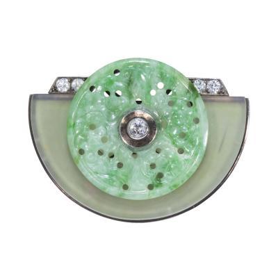 1920s French Art Deco Diamond Onyx Rock Crystal Carved Jade Bi Disc Bird Brooch
