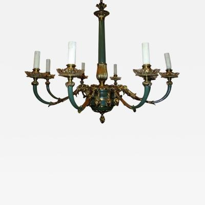 1920s French Empire Rams Head Chandelier