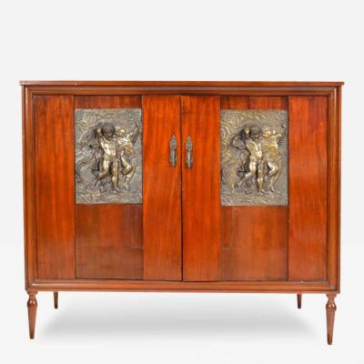 1920s Italian Art Deco Chest of Drawers Cabinet with Bronze Plaques