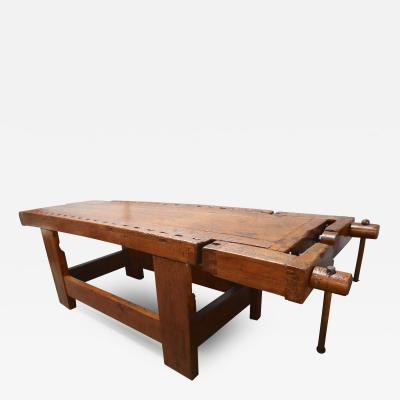 1920s Italian Wooden Carpenters Bench with Three Working Vices