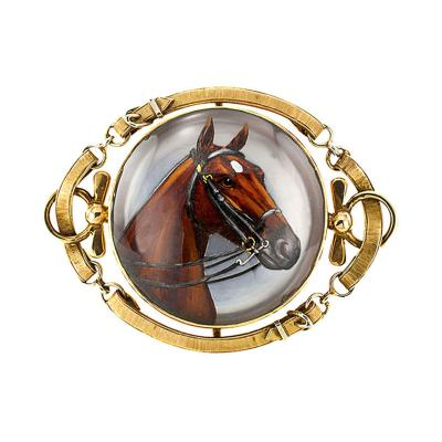 1920s Large Essex Crystal Equestrian Brooch