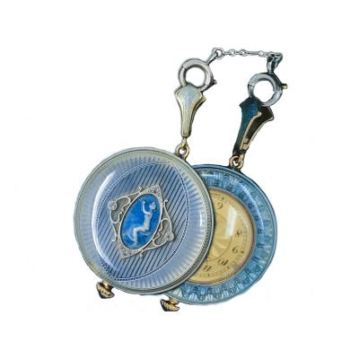 1920s Longines Platinum Diamond Enamel Cameo Pendant Watch