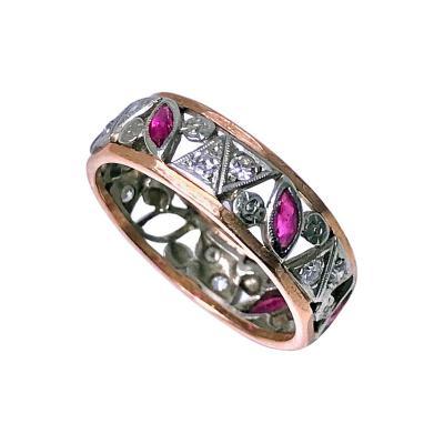 1920s Ruby and Diamond 14 Karat Ring