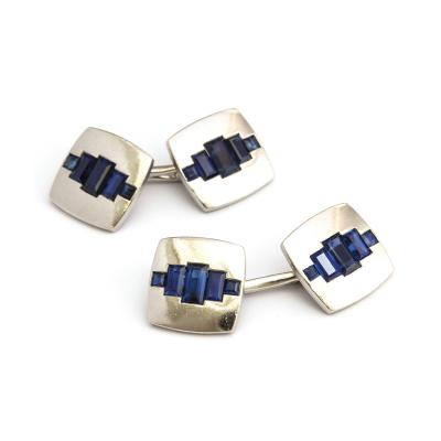 1920s Sapphire and Platinum Double Cufflinks