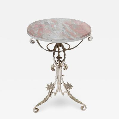 1920s Vintage Italian Iron and Marble Cocktail Table