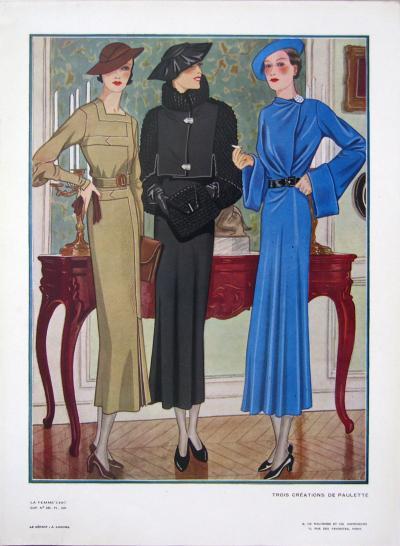 1920s Vintage Paris La Femme Chic 285 Trois Creations De Paulette Print