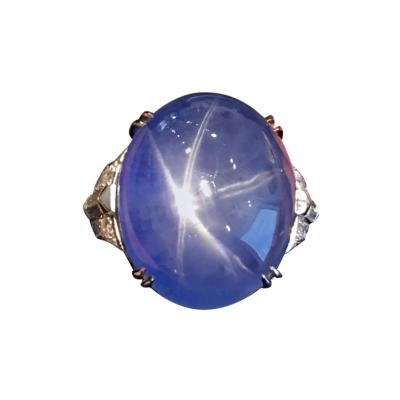 1930s American Art Deco 64 50 Carat Star Blue Sapphire Diamond Platinum Ring