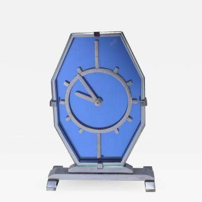 1930s Art Deco Blue Glass and Chrome Modernist Clock