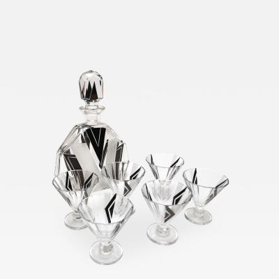 1930s Art Deco Decanter Set with Six Glasses