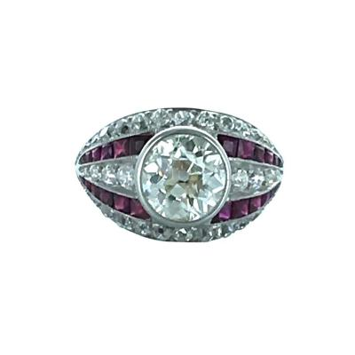 1930s Art Deco Diamond Ruby and Platinum Ring