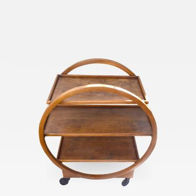 1930s Art Deco English Circular Drinks Trolley Cart