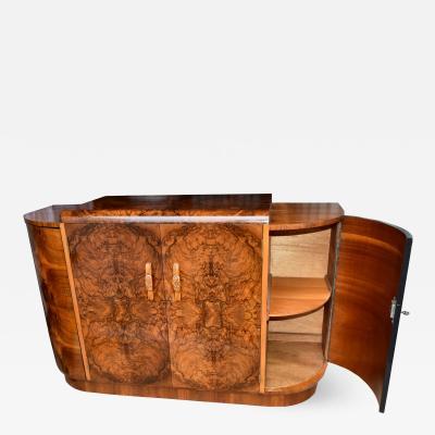 1930s Art Deco English Walnut Sideboard