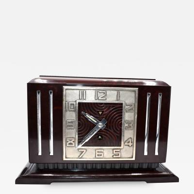 1930s Art Deco French Bakelite Mantle Clock by Jaz