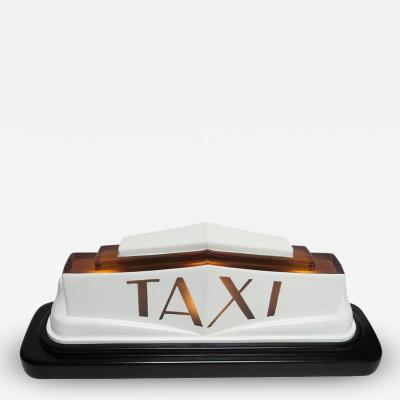 1930s Art Deco Molded Glass Taxi Cab Top Light
