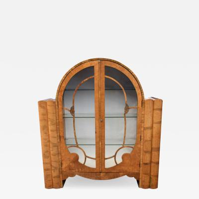 1930s Art Deco Walnut English Display Vitrine Cabinet