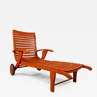 1930s Austrian Bauhaus Garden Lounger Orange Painted