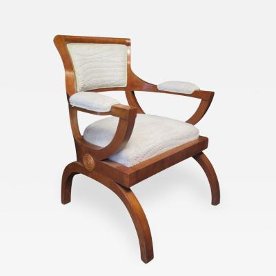 1930s Cherry Wood and Velet italian Art Deco Armchair