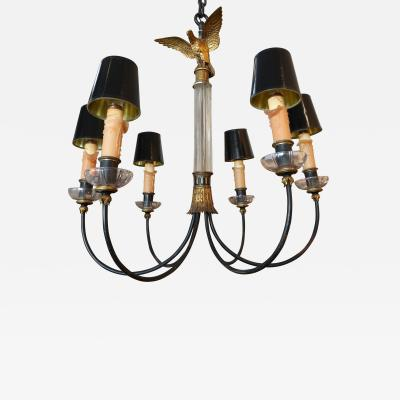 1930s Glass and Metal Imperial Chandelier